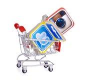 Populära sociala massmediasymboler Fotografering för Bildbyråer
