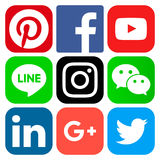 Populära sociala massmediasymboler Arkivfoto