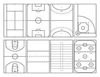 Populära sportdomstolöversikter royaltyfri illustrationer