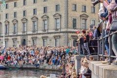 Populäre dänische Segelbootrückseite nach Weltumsegelung stockfoto