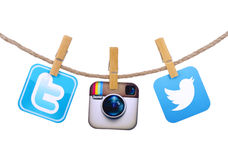 Populäre Social Media-Ikonen Lizenzfreie Stockfotografie