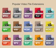 Populäre Videodateierweiterungen, Ebene färbten Vektorikonen für Netz, Mobile und Ext. Lizenzfreie Stockfotos
