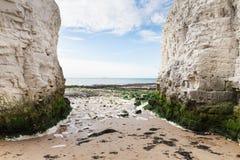 Populäre weiße Küste englischen Kanals Klippen Botanik-Bucht-La-Manches, Stockbild