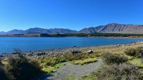 Populärer und szenischer See Tekapo in Canterbury Stockfotos