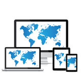 Populärer voller entgegenkommender Vektor der Webdesignelektronischen geräte Stockfotografie