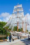 Populäres Restaurant des Segelboot-Meridians jetzt, Klaipeda, Litauen Stockfotos