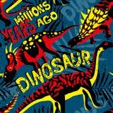 Populärt modernt stiltryck med dino Styranosaurus för T-tröja, Stock Illustrationer