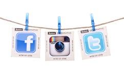 Populärt socialt massmedia Arkivbild