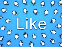 Populärt som begrepp räcker många markörmusen som klickar som knappen eller sammanlänkning på blå bakgrund royaltyfri illustrationer