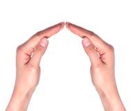 Populair gebaar op witte dichte omhooggaand als achtergrond Royalty-vrije Stock Foto's