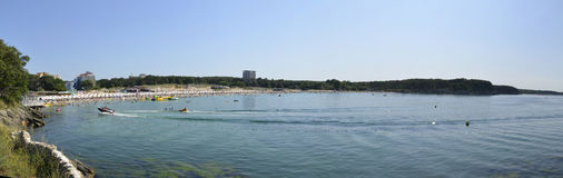 Populair strand in de Zwarte Zee Stock Foto