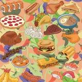 Populair voedsel van het verschillende patroon van landen royalty-vrije illustratie