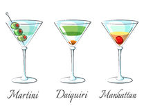 Populaire alcoholische cocktails royalty-vrije illustratie