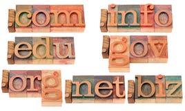 Populaire Internet domeinen in houten doopvonten Royalty-vrije Stock Afbeelding