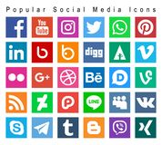 Populaire sociale media pictogrammen stock illustratie
