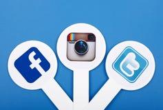Populaire sociale media pictogrammen Royalty-vrije Stock Foto's
