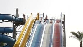 Populaire toevlucht met pools en aquapark in hotel in Egypte stock footage