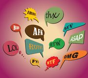 Popular acronyms & abbreviations in speech bubbles. Colorful and most commonly used chat and online acronyms and abbreviations on retro style speech bubbles Stock Image