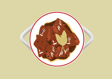 Popular Adobo dish of the Philippines cooked using mainly with vinegar and soy sauce. Editable Clip Art. Stock Photos