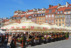 Popular Al Fresco Dining during Summer Time at Warsaw Old Town Market Place Royalty Free Stock Images