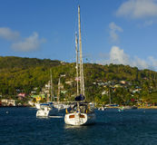 A popular anchorage in the caribbean Royalty Free Stock Images