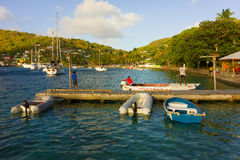 A popular anchorage in the caribbean Stock Photos