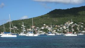 A popular anchorage in the caribbean stock footage
