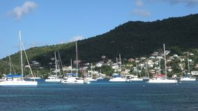 A popular anchorage in the caribbean stock video footage
