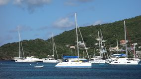 A popular anchorage in the caribbean stock video
