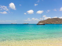 A popular anchorage for cruise ships and yachts in the caribbean Stock Image