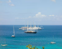 A popular anchorage for cruise ships and yachts in the caribbean Royalty Free Stock Photography