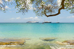 A popular anchorage for cruise ships and yachts in the caribbean Royalty Free Stock Photo