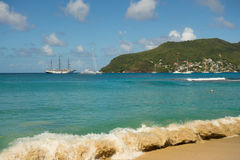 A popular anchorage in the windward islands Stock Photos