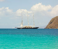 Popular anchorage for yachts in the caribbean Royalty Free Stock Photo
