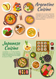 Popular argentine and japanese food flat icon Stock Photography