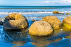The popular attraction. Boulders Moeraki - spherical boulders on the beach Koekokhe. Travel to New Zealand. Ocean evening inflow. The popular tourist attraction stock photo