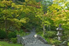Japanese Garden in Seattle`s Washington Park Arboretum Stock Photo