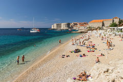 Popular Banje Beach in Dubrovnik Royalty Free Stock Photography