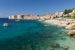 Popular Banje Beach in Dubrovnik Stock Images
