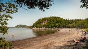 Popular beach at Parc National du Bic, Quebec royalty free stock photos
