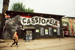 Popular Berlin clubs in grunge area with abandoned buildings and bars. BERLIN, GERMANY - SEP 4: Popular Berlin clubs in grunge area with abandoned buildings and Stock Photos