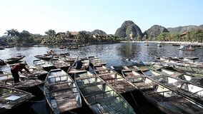 Popular Boat Tours in Tam Coc Vietnam. Tourist Vietnam Tam Coc . Boating on beautiful places and caves stock video