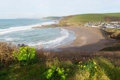 Popular britânico de Challaborough Devon England para surfar perto da ilha e do Bigbury-em-mar do Burgh Foto de Stock