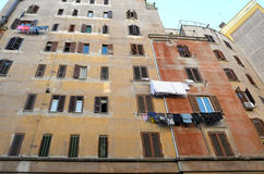 Popular buildings in Rome. Typical popular buildings of fascist architecture in a suburb of Rome Royalty Free Stock Images