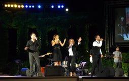 Popular Bulgarian singers live concert. Bulgarian famous  singers Lubo Kirov,Maria Ilieva ,Beloslava and Orlin Pavlov singing at the stage of Varna Summer Stock Photo