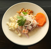 Popular ceviche dish in Peruvian restaurant Royalty Free Stock Image
