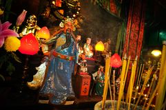 Popular Chinese god Guan Yu at the Tin Hau Temple in Ya Ma Tei,. YAU MA TEI, KOWLOON - JAN 1, 2014 - Popular Chinese god Guan Yu at the Tin Hau Temple in Ya Ma stock images