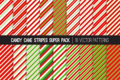 Candy Cane Stripes Vector Patterns in Red, White and Lime Green. Popular Christmas Background. Variable thickness diagonal lines. Pattern Tile Swatches Included Royalty Free Illustration