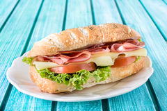 Popular ciabatta sandwich. With cheese and meat,selective focus Stock Image