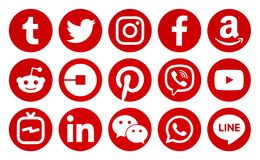 Popular circle red social media icons vector illustration